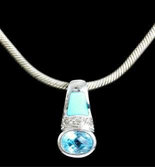 14k WG Turquoise & Blue Topaz Pendant Necklace