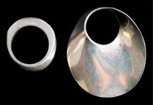 Modernist Sterling Silver Ring & Brooch Pin