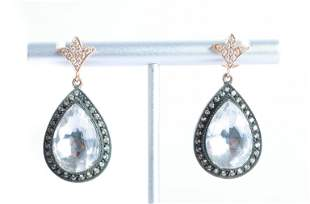 Victorian Style 14K Rose Gold Diamond Earrings