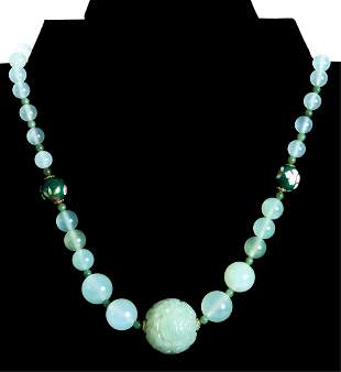 Chinese Jade Carved Puzzle Ball Necklace