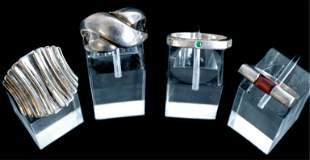 Group, Four Sterling Silver Rings