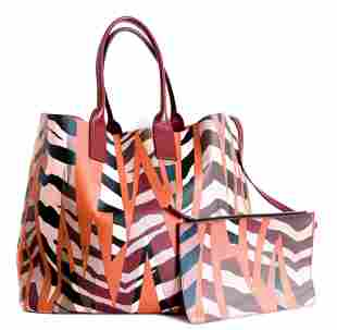 Emilio Pucci Canvas Leather Summer Tote Bag