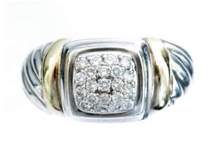 David Yurman 18k YG & 925 Cable Diamond Ring