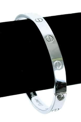 Attr. Cartier 18k White Gold LOVE Bracelet