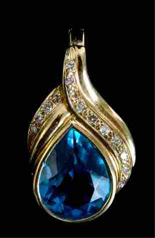 14k YG 5.0CT Blue Topaz & Diamond Pendant