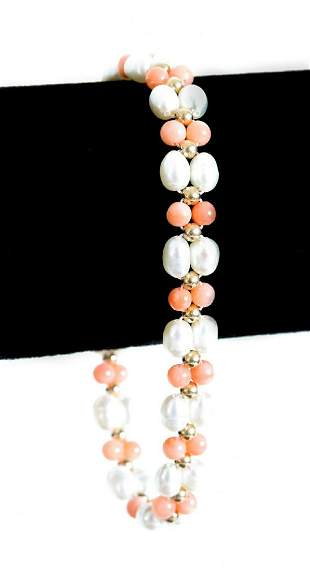 14k Yellow Gold Coral & Pearl Bracelet