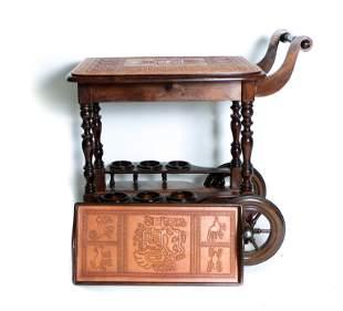 Unusual Vintage Bar Cart w/Aztec Mayan Designs