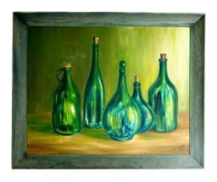Southern Still Life of Bottles Oil Masonite 1968