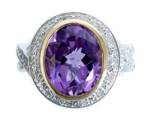 14K YG & Sterling Amethyst Ring Size 7
