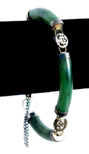 Vintage Chinese Jade Segmented Bracelet