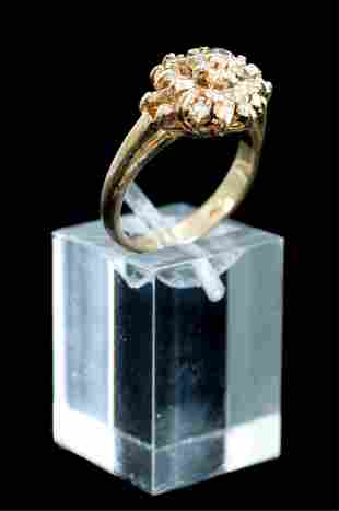 14k Yellow Gold & Diamond Cluster Ring, size 6.5