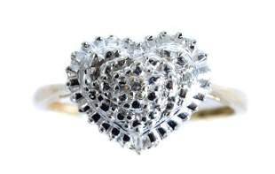10k Two Tone Gold Heart Shaped Diamond Ring