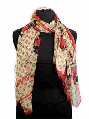 Stephen Sprouse For Louis Vuitton Rose Silk Scarf
