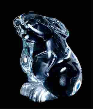 Baccarat Crystal Sitting Rabbit Figurine