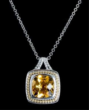 Sterling & 18K YG Citrine Pendant Necklace