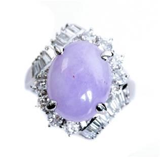 Platinum 6.46ct Lavender Jade & Diamond Ring