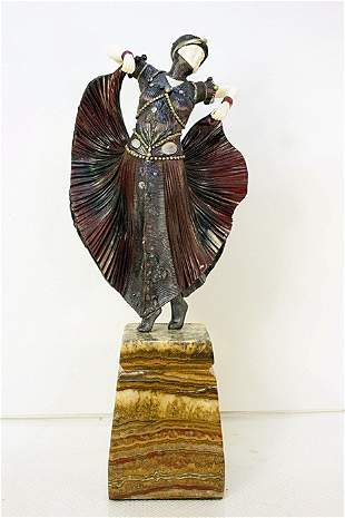 Butterfly Dancer - Bronze and Ivory Sculpture by Ch