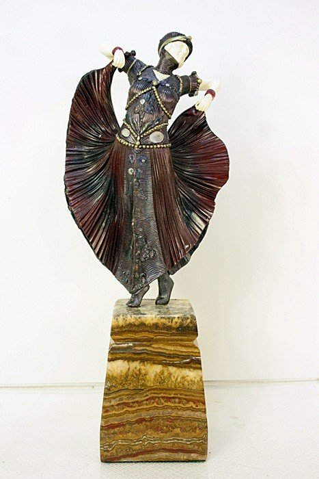 1B: Butterfly Dancer - Bronze and Ivory Sculpture by Ch