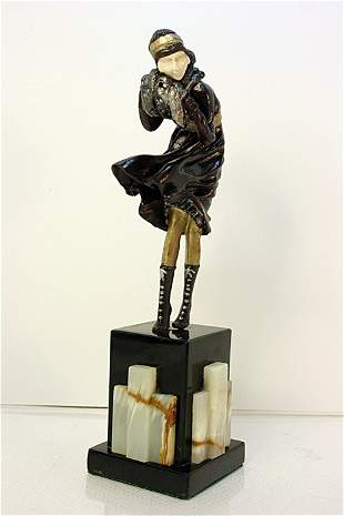 Signed Chiparus Bronze and Ivory - The Squall
