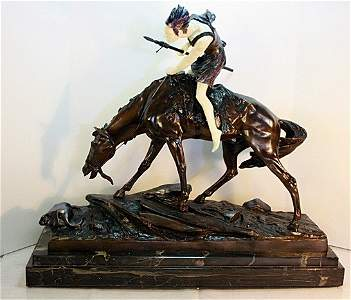 10B: Signed E. Drouot Bronze and Ivory - The Hunter