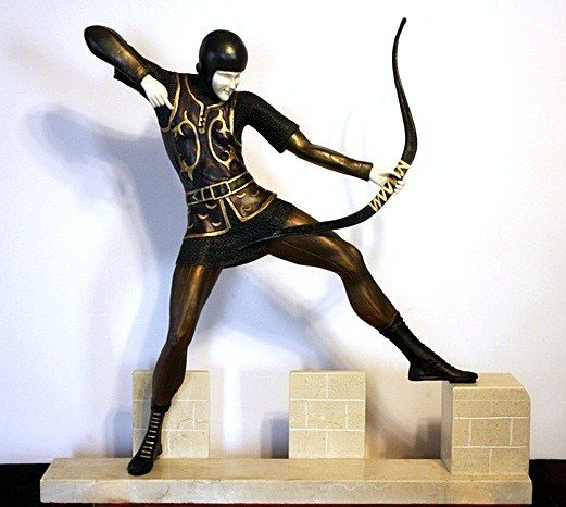 12B: Signal Man - Bronze and Ivory Sculpture by Pierre