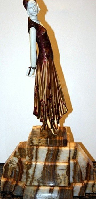 13B: Book Lady - Bronze and Ivory Sculpture by Chiparus