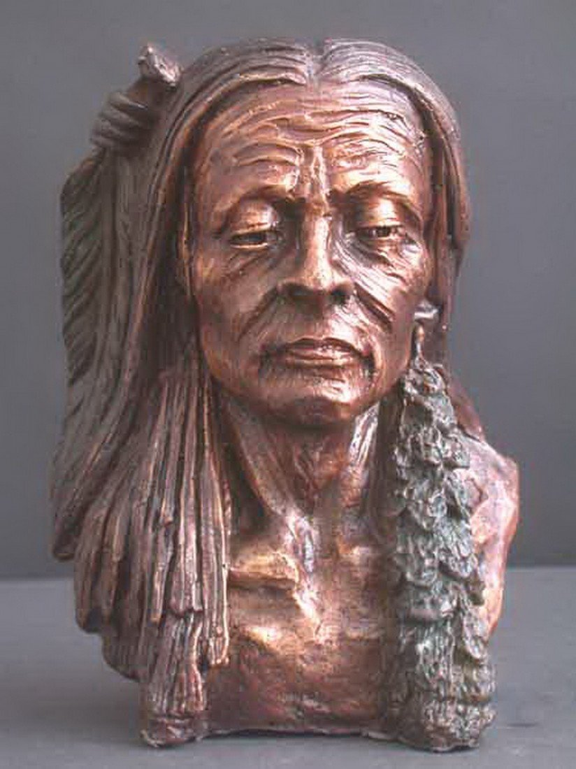 "121: ""AMERICAN INDIAN BUST"" BRONZE SCULPTURE"