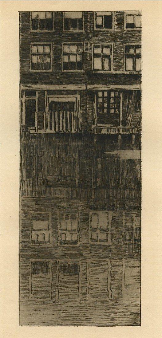 """734: Albert Baertsoen """"Reflets"""" original etching"""