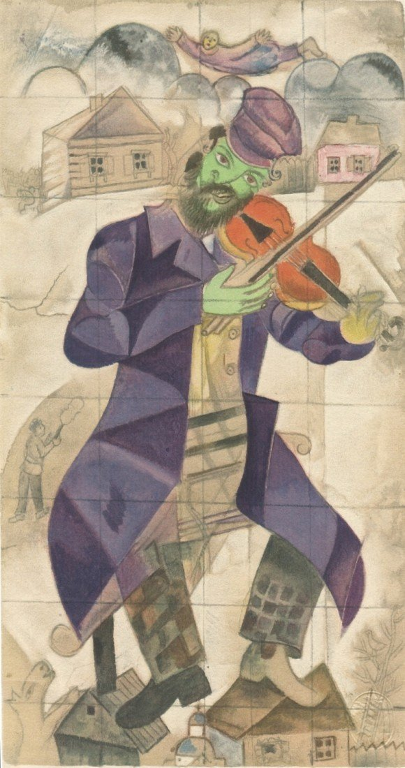 372: Marc Chagall 1923 pochoir (The Village Violinist)