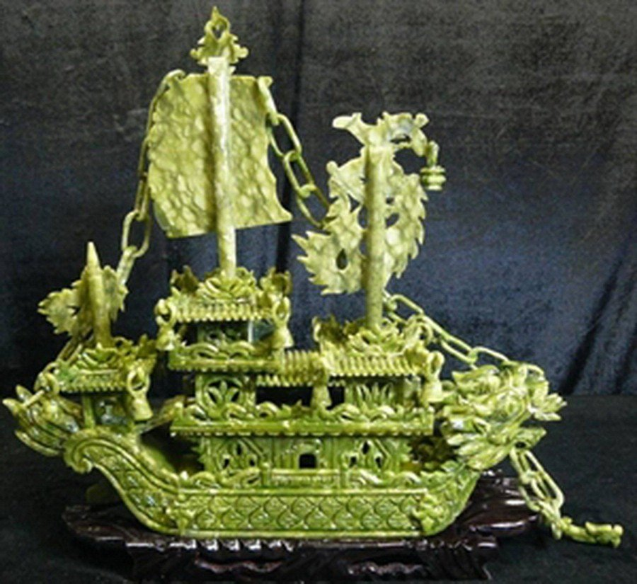 "29: 24"" GREEN JADE DRAGON BOAT"