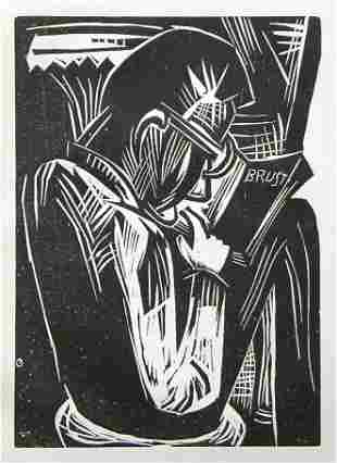 "Karl Schmidt-Rottluff original woodcut ""Lesender Ma"