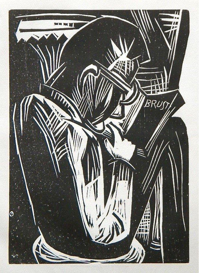 "17: Karl Schmidt-Rottluff original woodcut ""Lesender Ma"