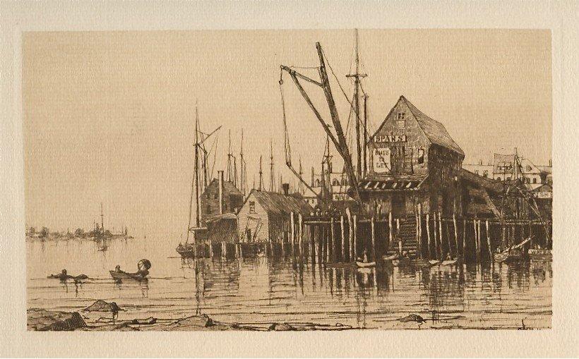 "19: Charles Platt original etching ""Old Boat House, Glo"