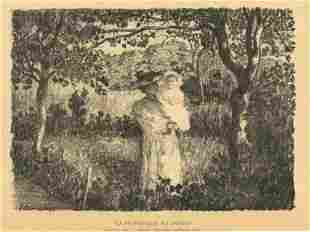 "Henri Lebasque original lithograph ""La promenade au"