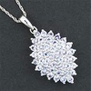 Marquise Genuine Tanzanite Necklace In 10K White Go