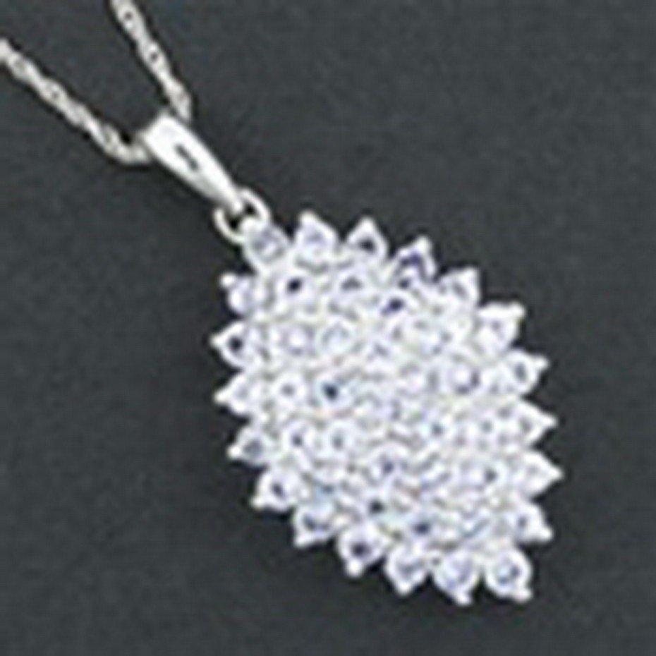 35: Marquise Genuine Tanzanite Necklace In 10K White Go