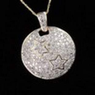 1ctw Diamond Star Pendant & Chain Necklace in 10K G