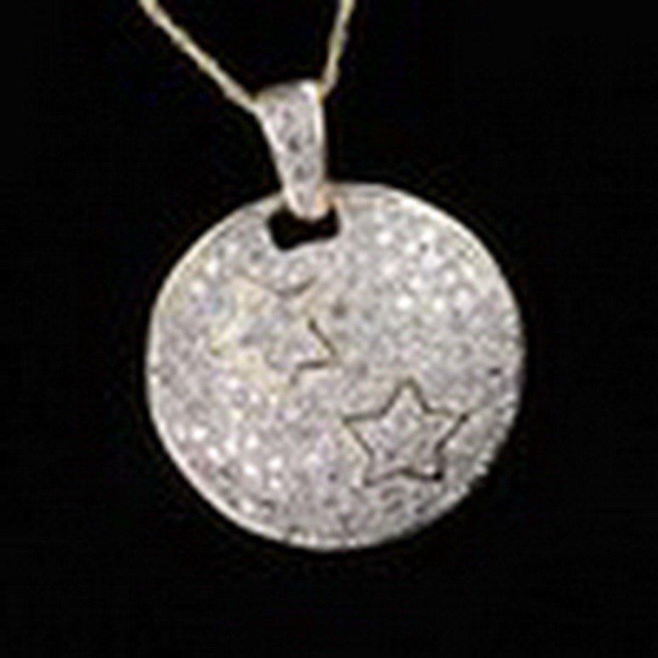 47: 1ctw Diamond Star Pendant & Chain Necklace in 10K G