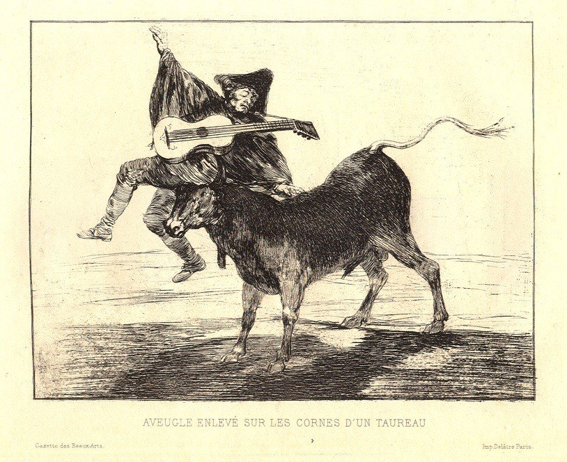 "1623: Francisco Goya original etching ""Aveugle EnlevÃÆ"