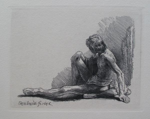 6: Rembrandt Nude Man Seated Etching
