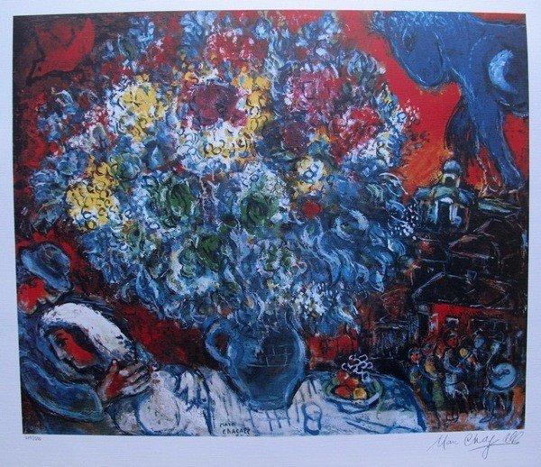 17: Marc Chagall Bouquet De Fleur Et Amants Limited Ed.