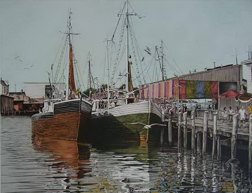 4A: Mark Stevens BOAT HARBOR Hand Signed