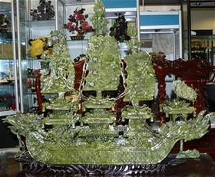 "11J: LARGE 38"" GREEN JADE DRAGON BOAT"