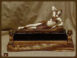 10D: Dimitri Chiparus - Cleopatra - Bronze And Ivory Sc
