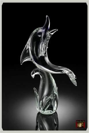 9S: ART GLASS BLUE DOLPHIN