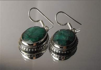 30M: 9.26 tcw Emerald Sterling ear rings - Beautiful