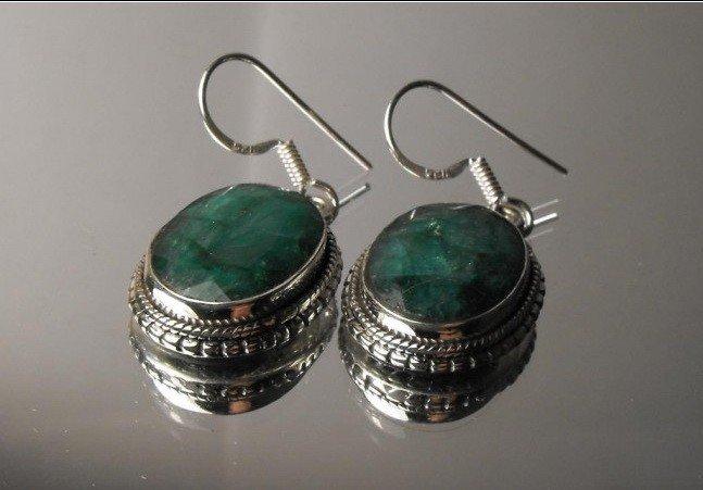 30M: 9.26 tcw Emerald Sterling ear rings - Beautiful