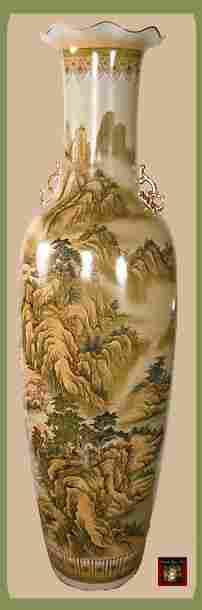 1K: 72in Oriental Handpainted Vase