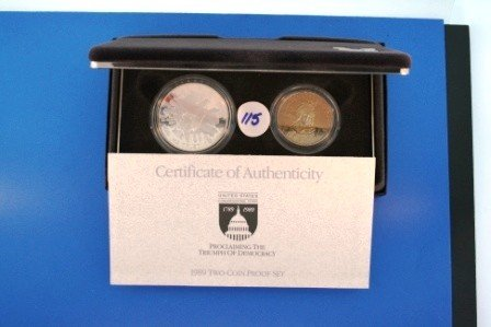 115: Two (2) 1989 United States Congressional Coins Two