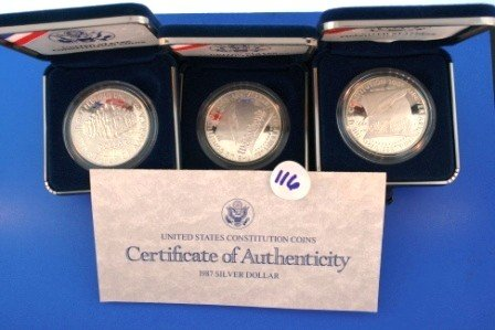 116: Three (3) 1987 Proof Silver 1$  United States Cons